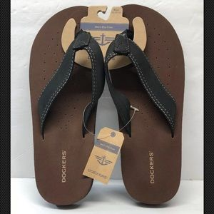 Dockers Men's Size XL 12-13 Flip Flop Brown Black